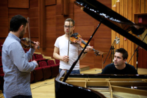 two violins and piano